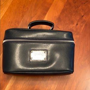 Black Valentina Leather Cosmetic Travel Bag